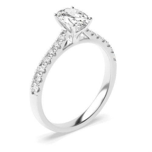 Crown Style Setting Pear Shape Side Stone Engagement Ring