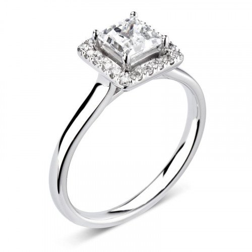 Prong Setting Princess Diamond Princess Halo Engagement Ring
