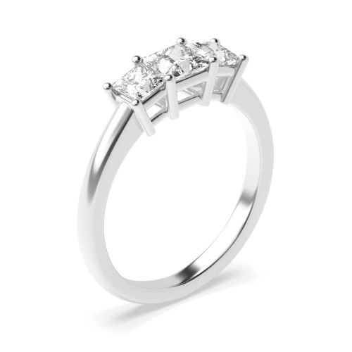 4 Claws Setting Princess Trilogy Diamond Ring in White gold