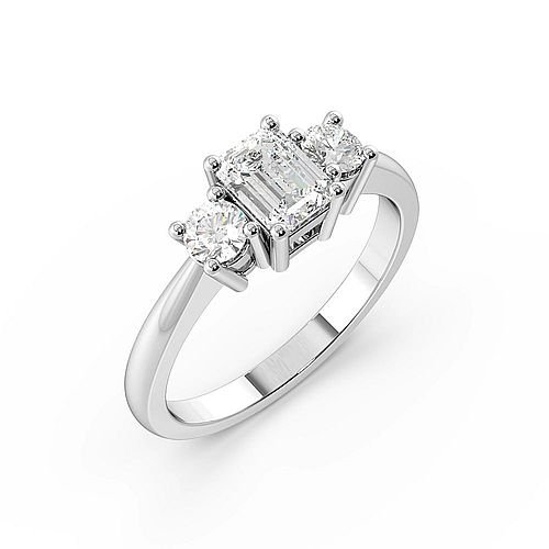 4 Prong Set Emerald Trilogy Diamond Ring in Platinum