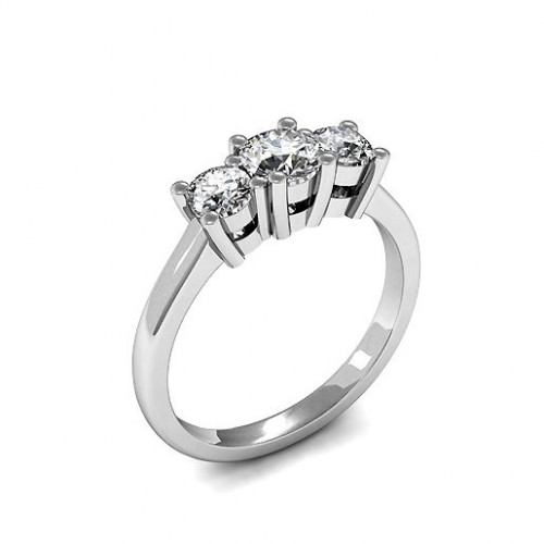 4 Prong Set Round Trilogy Diamond Ring in Platinum