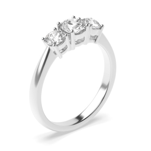 4 Prong Set Round Trilogy Diamond Ring in White gold / Platinum