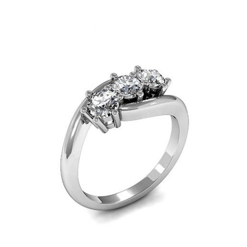Round Trilogy Diamond Rings 6 Prong Setting in Yellow Gold