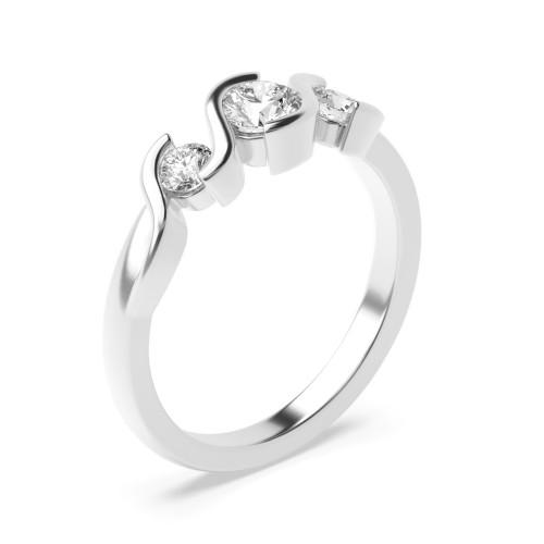 Round Trilogy Diamond Rings Semi Bezel Setting in Rose / White Gold