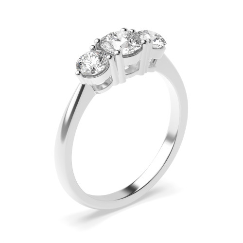 Round Trilogy Diamond Ring 4 Prong Set in Platinum