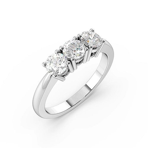 Trilogy Round Diamond Ring 4 Prong Setting in White gold / Platinum
