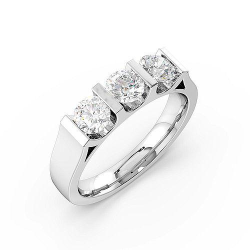 Round Trilogy Diamond Rings Bar Setting in Platinum