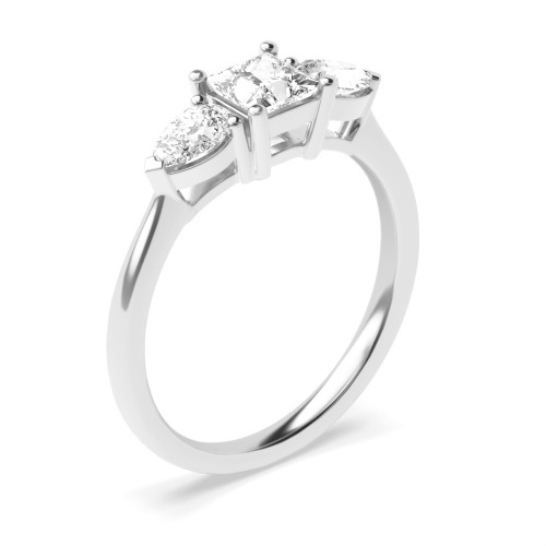 Princess Trilogy Diamond Ring 4 Prong Setting in Rose Gold / Platinum