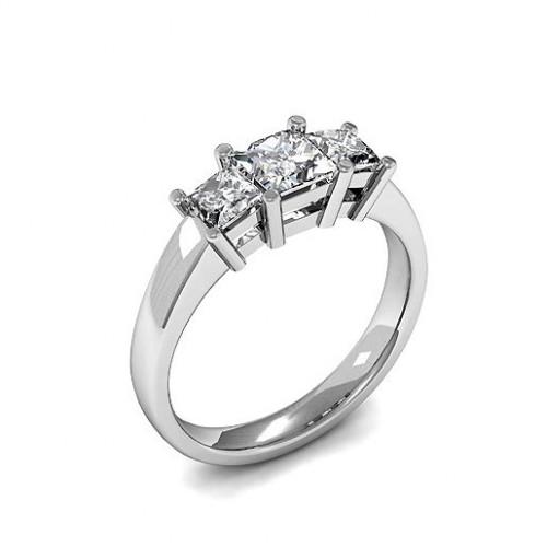 White gold Princess Trilogy Diamond Ring 4 Prong Setting