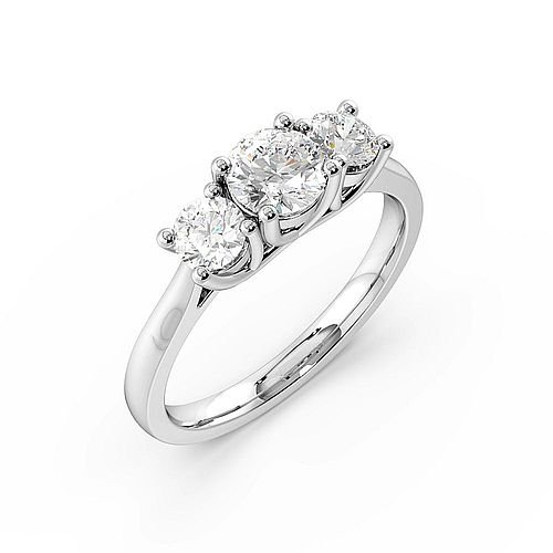 Trilogy Round Diamond Ring in White Gold 4 Prong Setting