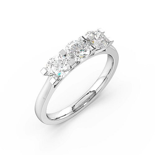 4 Claws Set Round Trilogy Diamond Ring in White Gold / Platinum