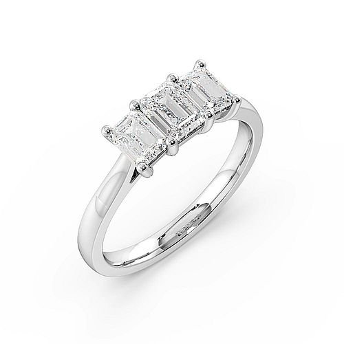Emerald Trilogy Diamond Ring 4 Prong Setting in White gold