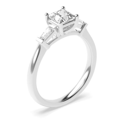 Rose / White Gold Princess Trilogy Diamond Ring in 4 Prong Setting