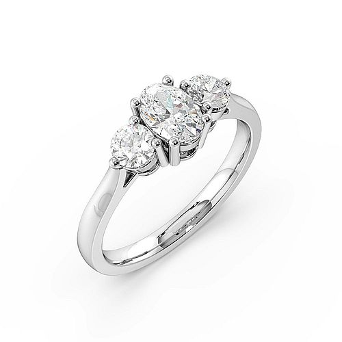 4 Prong Setting Oval Trilogy Diamond Rings in White gold / Platinum