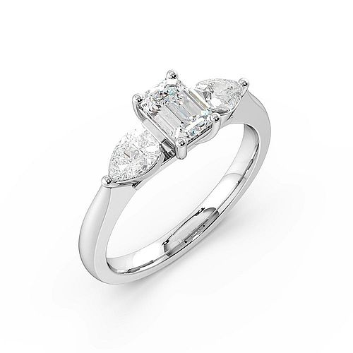 4 Prong Setting Emerald Trilogy Diamond Rings in Rose gold