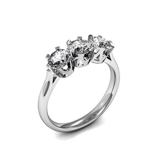 Round Trilogy Diamond Rings 6 Prong Setting in White gold / Platinum