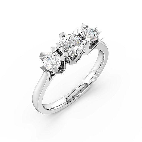 Round Trilogy Diamond Rings 6 Prong Setting Yellow / White Gold