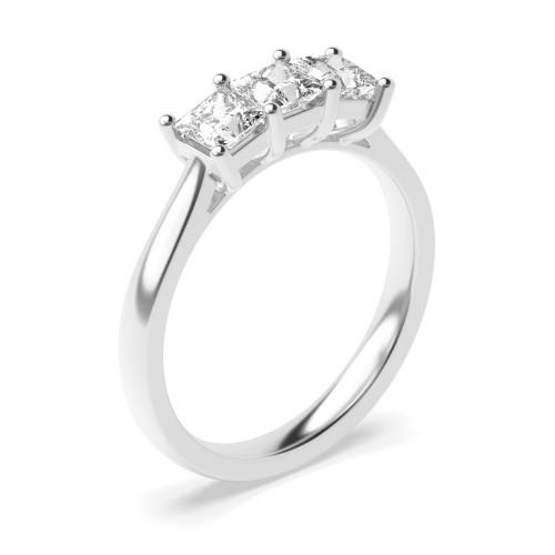 4 Prong Setting Princess Trilogy Diamond Rings in Platinum
