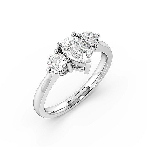 3 Prong Setting Pear Trilogy Diamond Ring in White gold