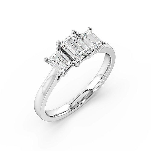 4 Prong Setting Emerald Trilogy Diamond Rings in White Gold