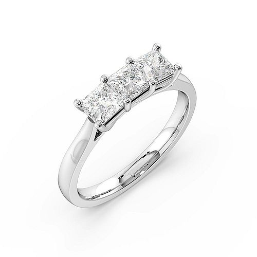 Princess Trilogy Diamond Rings 4 Prong Setting in Yellow / White Gold