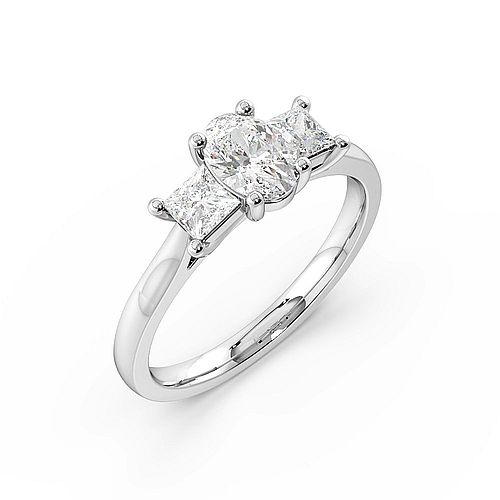Oval Trilogy Diamond Rings 4 Prong Setting in Platinum