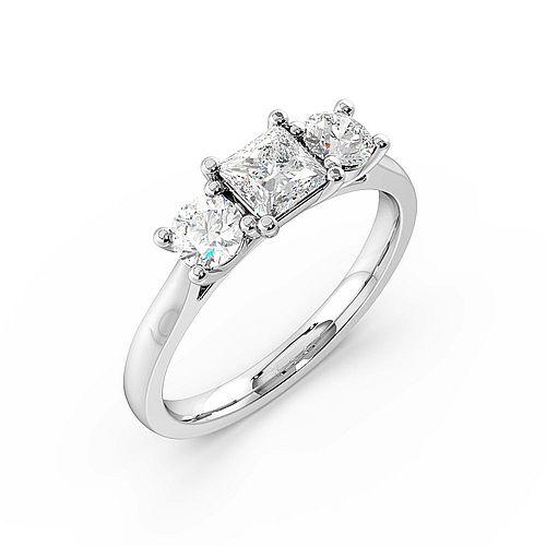 Princess Trilogy Diamond Rings 4 Prong Set in White gold / Platinum