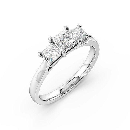 Trilogy Princess Diamond Rings 4 Prong Setting in White gold / Platinum