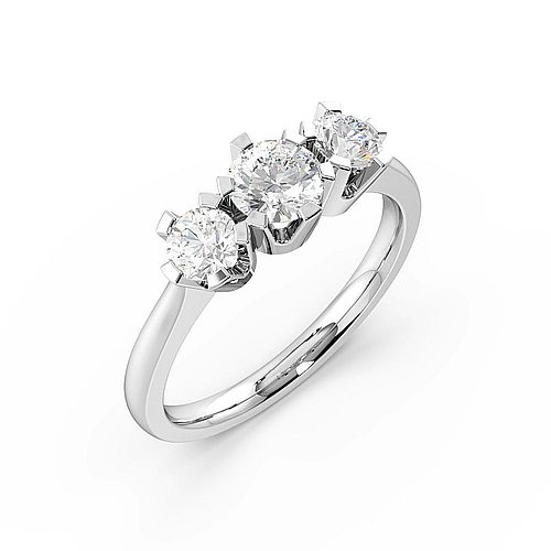 Round Trilogy Diamond Rings 6 Prong Setting in Yellow / White Gold