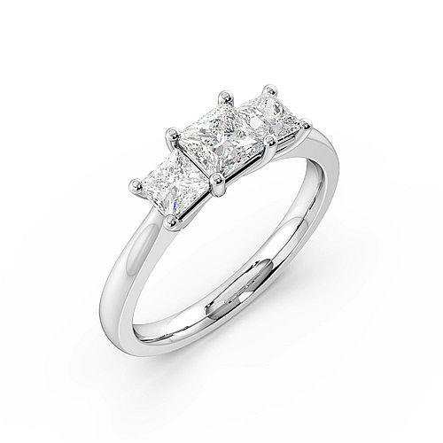 4 Prong Set Princess Cut Trilogy Diamond Rings in White gold