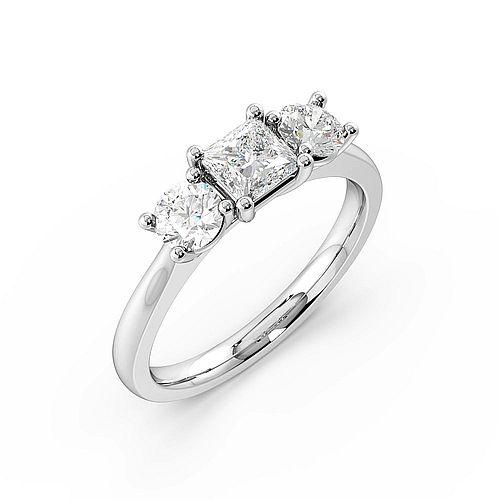 4 Prong Set Princess Shape Trilogy Diamond Rings in Platinum