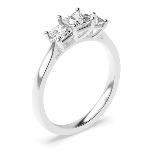 4 Prong Set Princess Cut Trilogy Diamond Rings in Yellow Gold