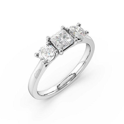 4 Prong Set Princess Shape Trilogy Diamond Rings in White gold / Platinum