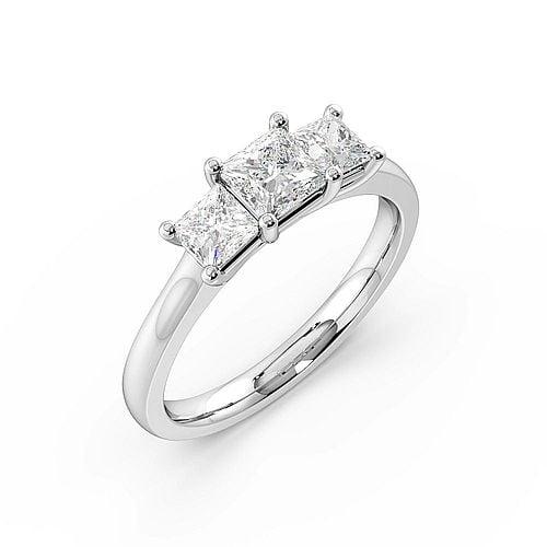 4 Prong Setting Princess Trilogy Diamond Rings in White gold / Platinum