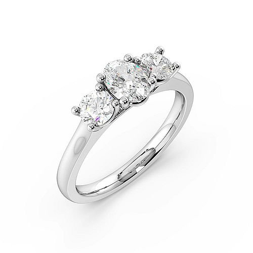 Oval Trilogy Diamond Rings 4 Prong Setting White Gold
