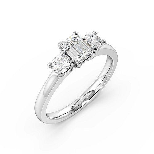 Platinum Emerald Trilogy Diamond Rings 4 Prong Setting