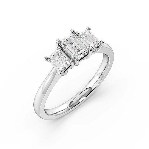 Emerald Trilogy Diamond Rings 4 Prong Setting White Gold / Platinum