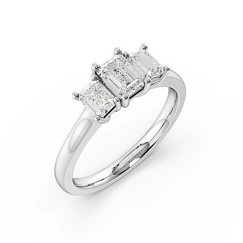 Emerald Trilogy Diamond Rings 4 Prong Setting in Rose / White Gold