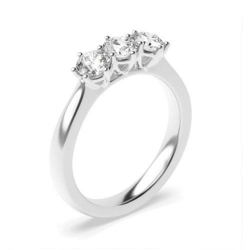 Round Trilogy Diamond Rings 6 Prong Setting in White gold