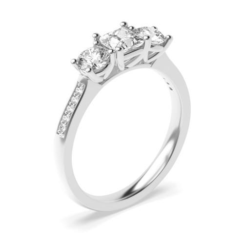 4 Prong Setting Studded Three Stone Ring Princess Trilogy Diamond Ring