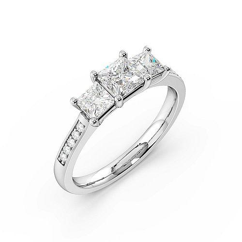 4 Prong Set Studded Three Stone Ring Princess Trilogy Diamond Ring