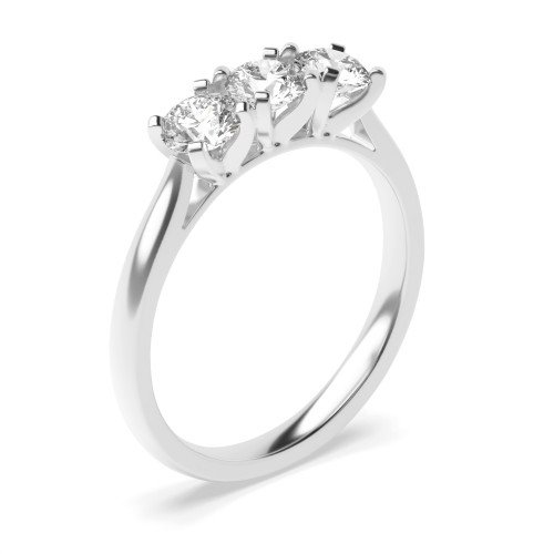 Round Trilogy Diamond Rings 4 Prong Set in Platinum
