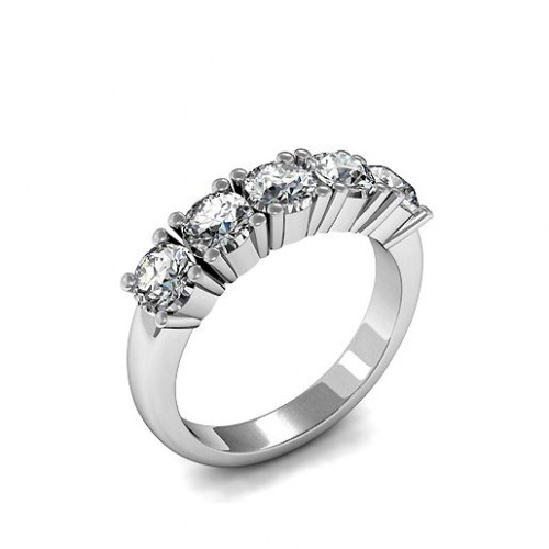 4 Prong Setting Five Stone Round Cut Diamond Ring Gold / Platinum