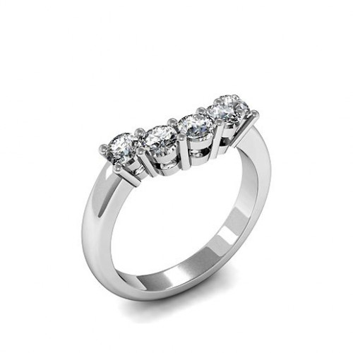 Five Stone Diamond Ring In Platinum 4 Prong Set