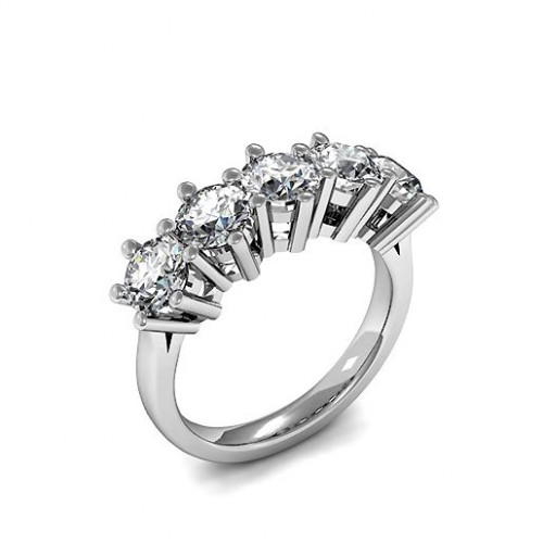 6 Prong Setting Five Stone Diamond Ring UK In Platinum
