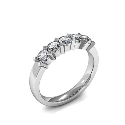 Five Stone Diamond Ring 4 Prong Set Round Diamond Ring In White Gold