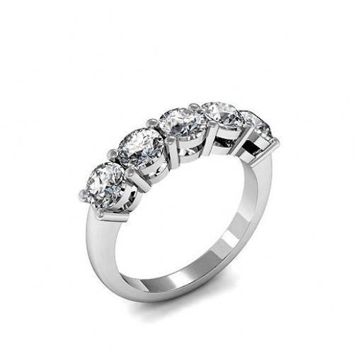 Five Stone Diamond Ring Platinum 4 Prong Set Round Cut Diamond Ring
