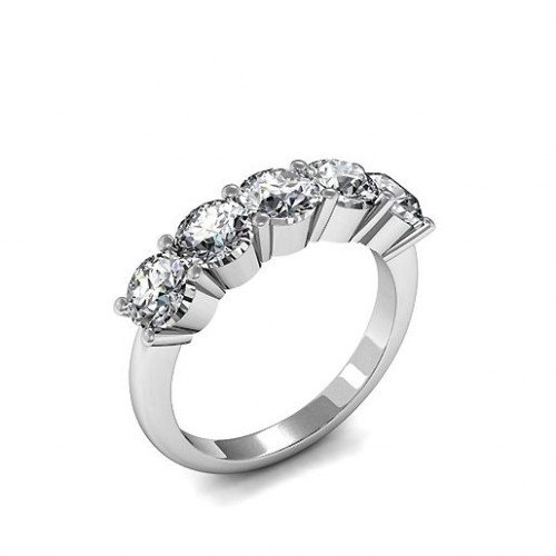4 Prong Setting Five Stone Diamond Ring In Rose Gold, Platinum