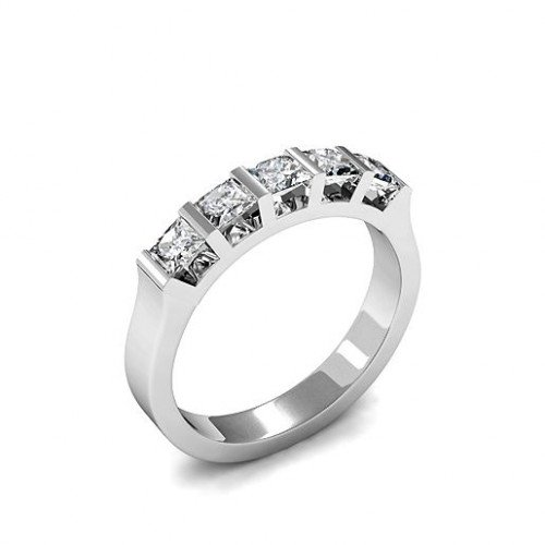 Bar Setting Five Stone Diamond Ring White Gold / Platinum