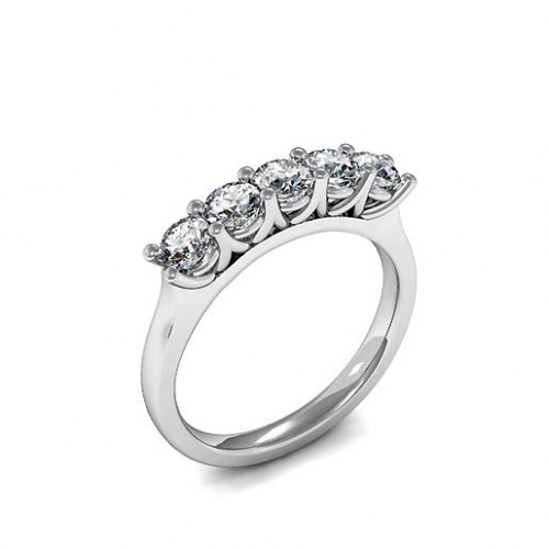 Prong Setting Five Stone Diamond Ring Yellow / White Gold